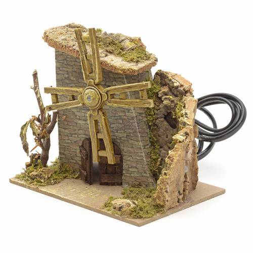 Moulin à vent avec arbre pour crèche 14x15x11 cm s2