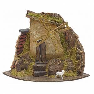 Moulin à vent avec chevreau pour crèche 17x22x17 s1