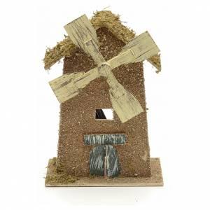 Moulins en miniature: Moulin à vent avec moteur pour crèche 15x10x26,5cm