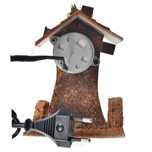 Moulin à vent pour crèche 12x10x6 cm bois et liège s2