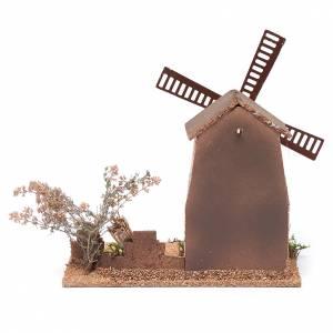 Mulino a vento finto presepe in sughero 20x15x25 cm s4