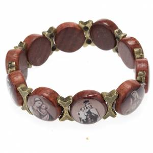 Multi-image wood bracelets: Multi-image bracelet - brown wood and bronzed metal
