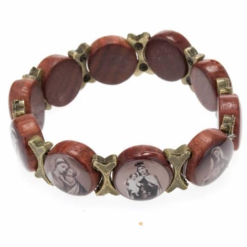 Multi-image bracelet - brown wood and bronzed metal s2