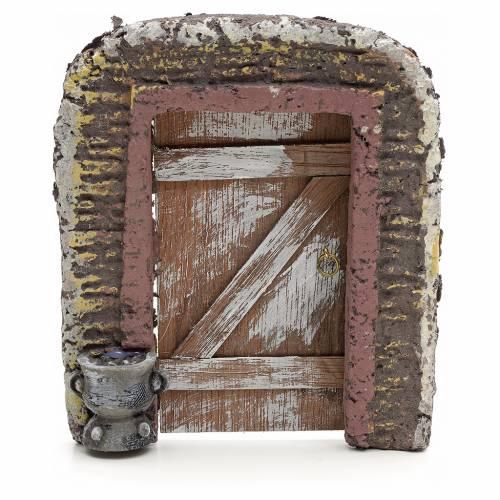 Muro con puerta para pesebre 15x13 cm s1