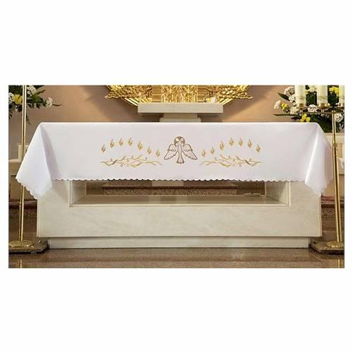 Nappe pour autel 165x300 cm flammes et colombe centrale s1