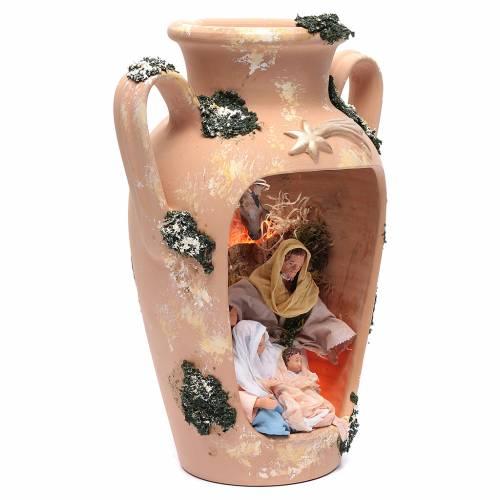 Natività 16 cm nel vaso a due manici terracotta Deruta 35 cm s3
