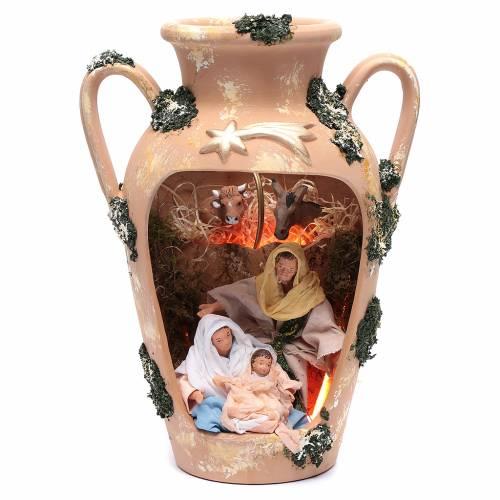 Natività 16 cm nel vaso a due manici terracotta Deruta 35 cm s1
