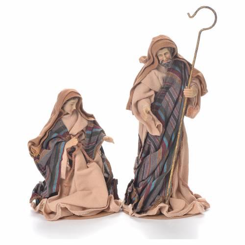 Nativité 26 cm résine et tissu marron beige s2