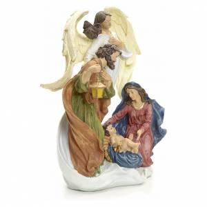 Crèches résine et tissu: Nativité avec ange 36 cm