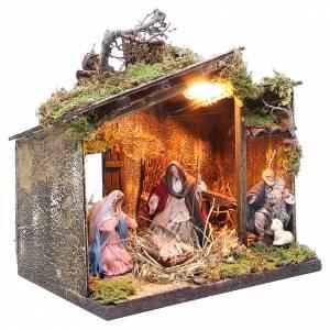 Nativité avec berger et décor 10 cm crèche napolitaine s3