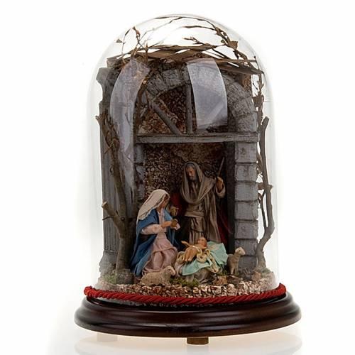 Nativité dans cloche en verre avec paysage, 30 cm s1