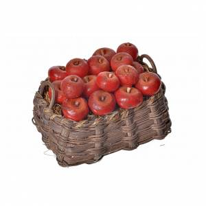 Nativity accessory, apple basket in wax, 10x7x8cm s3