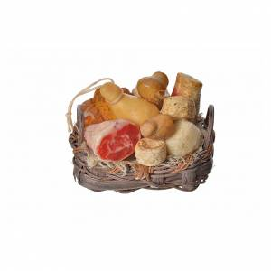 Nativity accessory, bread and cold meat basket in wax, 4.5x5.5x6 s1
