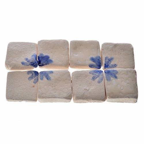 Nativity accessory, enamelled terracotta tiles, 60pcs, blue arro 1