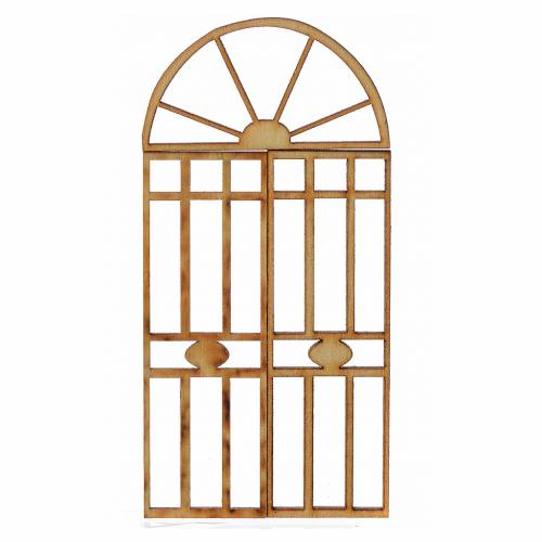 Nativity accessory, wooden gate, 3 pieces 10.5x5cm s1