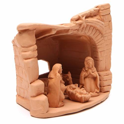 Nativity arch natural terracotta 20x20x13cm s3