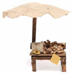 Miniature food: Nativity Bench with eggs and beach umbrella 16x10x12cm