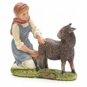 Nativity figurine, shepherdess milking cow 21cm s1
