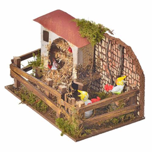 Nativity figurine, stable with hens and sound s2