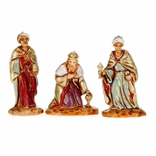 Nativity figurine, Three Wise Kings in hand painted plastic 3.5cm s1