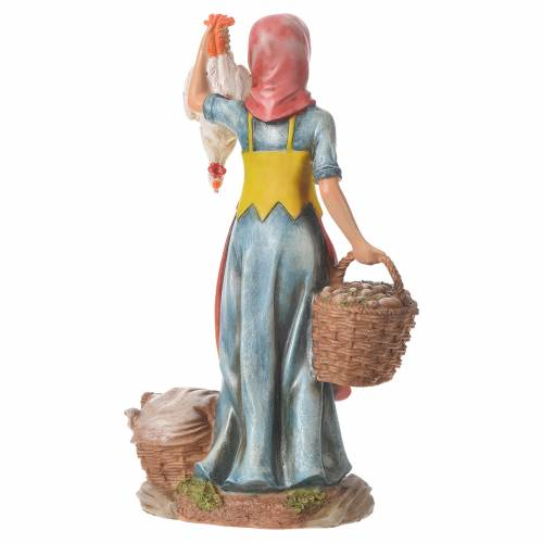 Nativity figurine, woman with hens and basket, 30cm resin s6