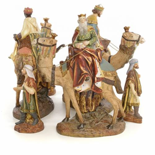 Nativity figurine wood pulp, 3 Wise Kings on camel, 20cm (extra s2