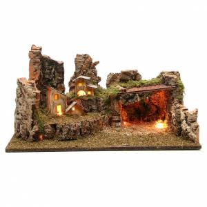 Nativity grotto with landscape and lights 28x58x32cm s1