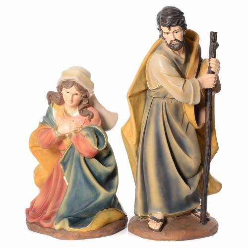 Nativity in resin with 3 figurines measuring 1 meter s2