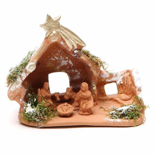 Nativity in Terracotta with Snow 10x12x7cm s1