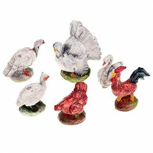 Animals for Nativity Scene: Nativity scene accessory, chickens set of 6 pcs.