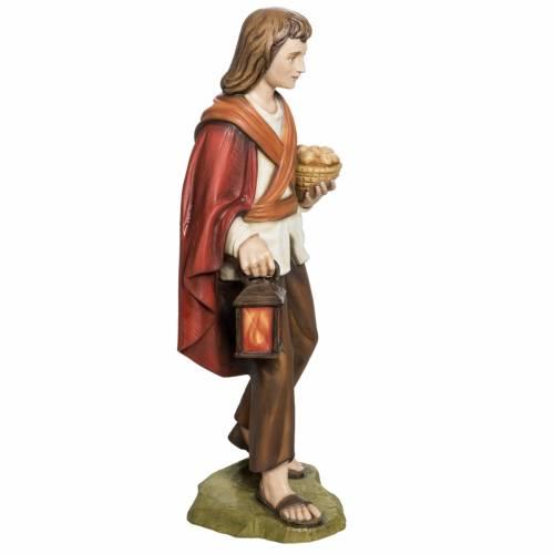 Nativity scene fiberglass figurine, shepherd with bread 60 cm s5