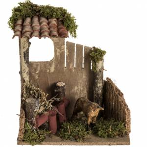 Nativity scene figurine, cow in the cattle shed s1