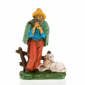 Nativity scene figurine Shepherd with pipe and sheep 10cm s1