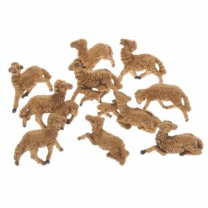 Animals for Nativity Scene: Nativity scene figurines, brown sheep 10 pieces 8 cm