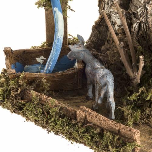 Nativity scene figurines, donkey with fake fountain s3