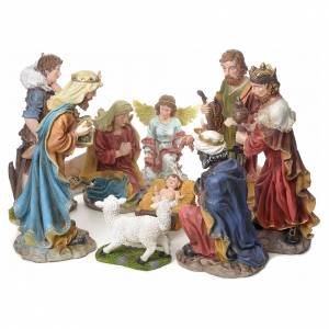Resin and Fabric nativity scene sets: Nativity scene in coloured resin, 12 figurines 85cm