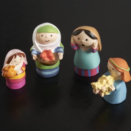 Nativity scene in coloured resin, 20 figurines 4,5cm s5