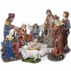 Resin and Fabric nativity scene sets: Nativity scene in resin, 12 figurines 85cm