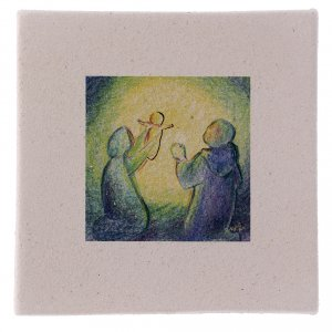 Christmas home decorations: Nativity scene picture in fireclay 10X10 cm