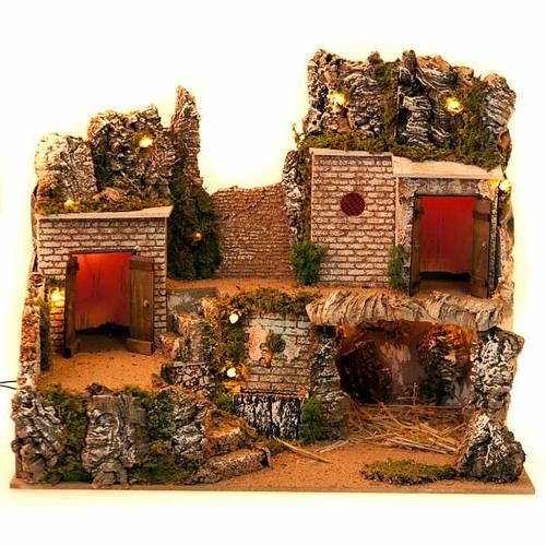 Nativity scene setting, grotto and village s3