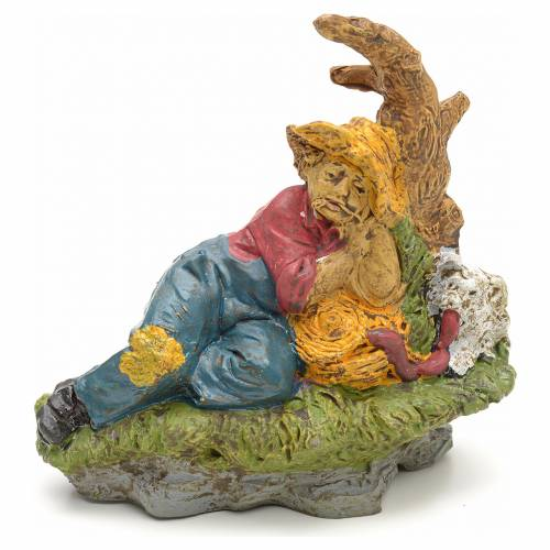 Nativity scene, sleeping shepherd figurine with dog 10cm s1
