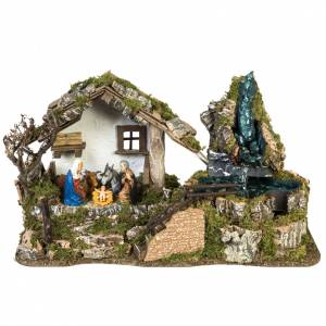 Stables and grottos: Nativity Scene stable refuge style 28x48x24 cm
