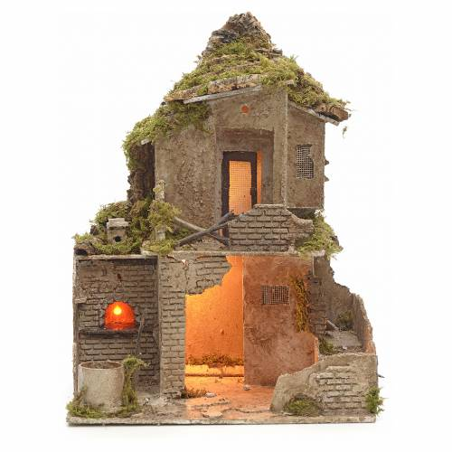 Nativity scene stable with manger and light 53 cm h s1