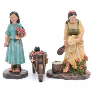 Nativity Scene figurines: Nativity scene statues florists with cart in resin 20 cm 3 pieces set