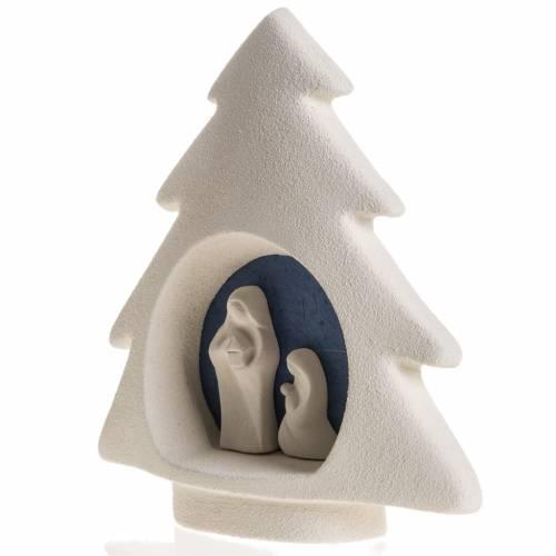Nativity scene, tree shaped wall nativity in clay, blue s4