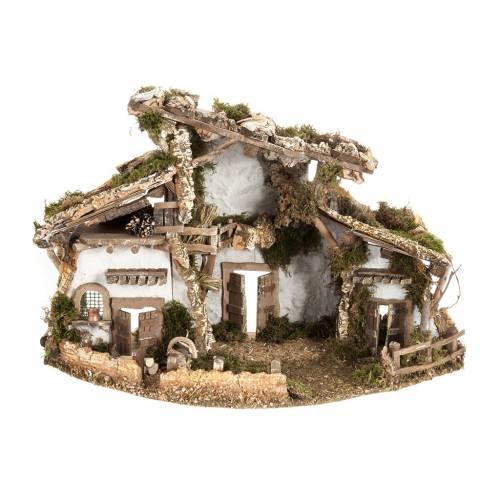 Nativity set accessory, cabin-style Hut 60x30x40 cm s1