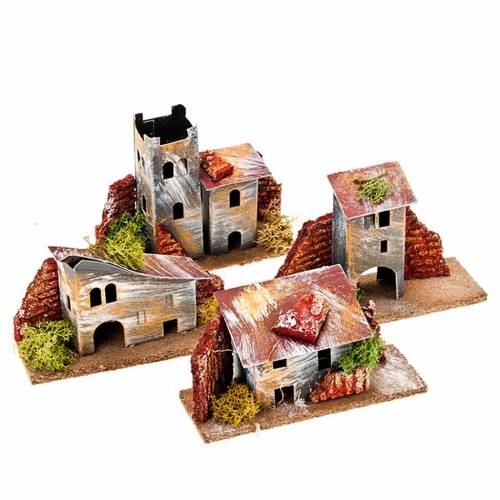 Nativity set accessory, coloured paperboard mixed houses s2