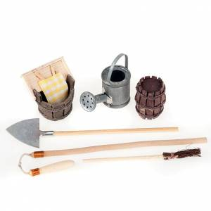 Nativity set accessory, set of wooden and metal tools s1