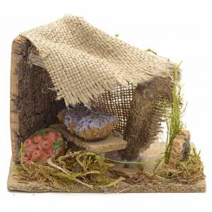 Miniature food: Nativity set accessory, vegetable stall with windows and porch