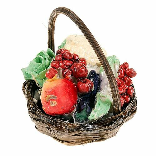 Nativity set accessory, vegetables basket with handle s2